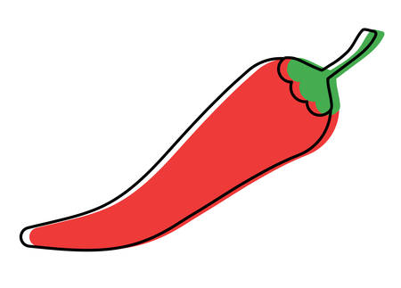 chili pepper icon over white background, colorful design.  vector illustration