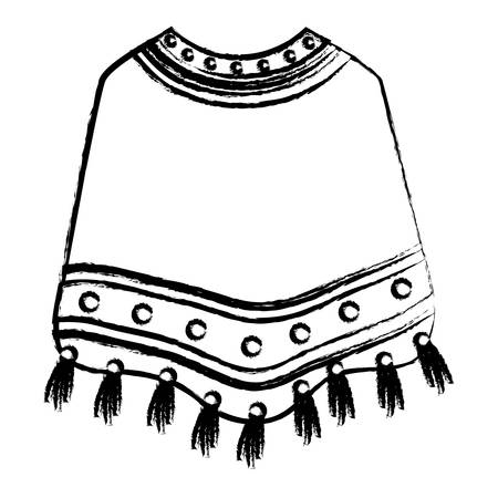sketch of mexican poncho icon over white background, vector illustration