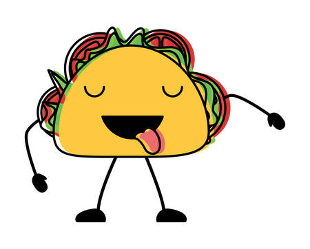 taco showing the tongue over white background, colorful design. vector illustration Иллюстрация