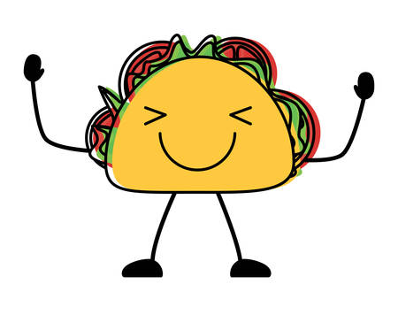 happy taco icon over white background, colorful design. vector illustration