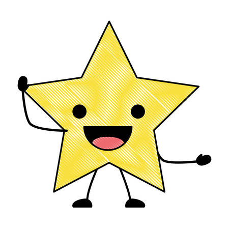 excited star icon over white background, colorful design. vector illustration  イラスト・ベクター素材