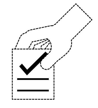 hand with votation paper with check icon over white background, vector illustration