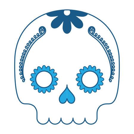 sugar skull icon over white background, blue shading design. vector illustration Illustration