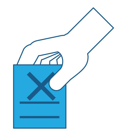 hand with votation paper with cross icon over white background, blue shading design. vector illustration Stock Illustratie