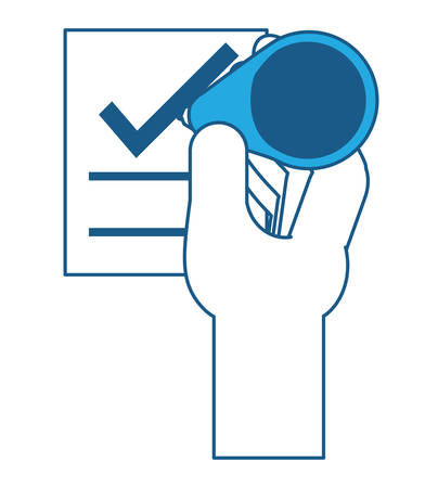 hand with votation paper with check icon over white background,  blue shading design. vector illustration