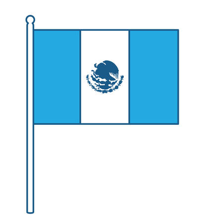 Mexican flag icon over white background, blue shading design. vector illustration