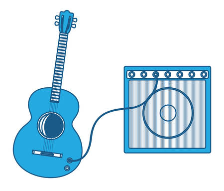 guitar with ampliflier icon over white background, blue shading.  vector illustration