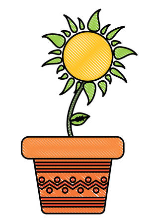 flower pot icon over white background, colorful design. vector illustration