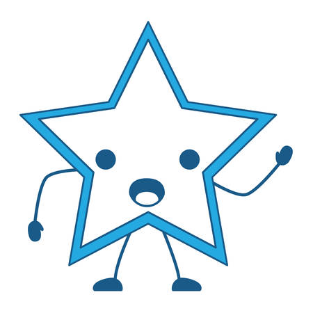 surprised star icon over white background, blue shading design. vector illustration Illustration