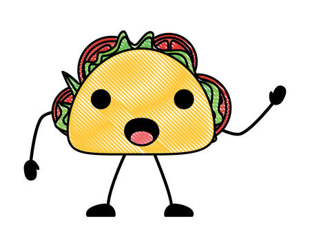 surprised taco icon over white background, colorful design. vector illustration