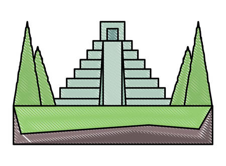 mexican pyramid surrounded by nature icon over white background, colorful design. vector illustration