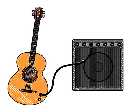 guitar with ampliflier icon over white background, colorful design. vector illustration Vectores