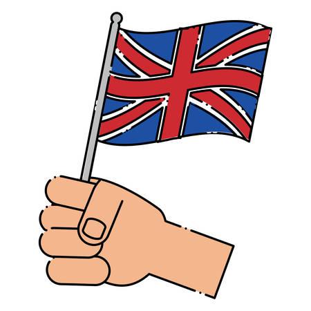 Hand holding a flag of united kingdom over white background, colorful design. vector illustration