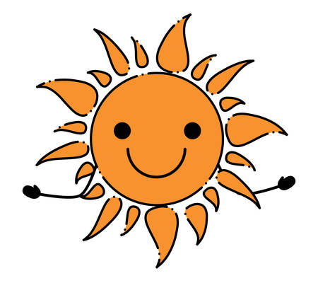 excited sun icon over white background, colorful design. vector illustration Vectores