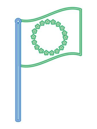 european union flag icon over white background, colorful design.  vector illustration