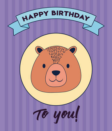 Happy birthday design with cute bear icon and decorative ribbon over purple background, colorful design. vector illustration 矢量图像