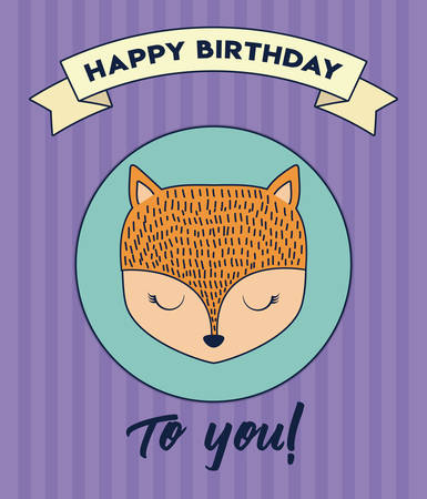 Happy birthday design with cute fox icon and decorative ribbon over purple background, colorful design. vector illustration