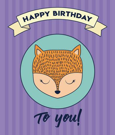 Happy birthday design with cute fox icon and decorative ribbon over purple background, colorful design. vector illustration