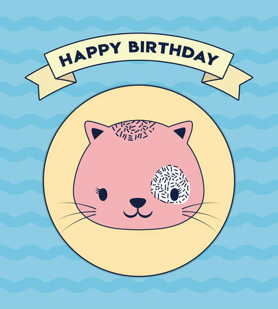 Happy birthday design with cute cat icon and decorative ribbon over blue background, colorful design. vector illustration