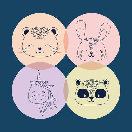 Icon set of cute animals over colorful circles and blue background, vector illustration