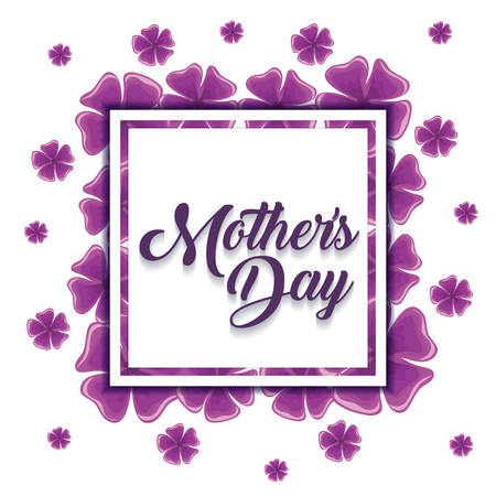 Mothers day design with beautiful flowers around decorative square frame over white background, colorful design.