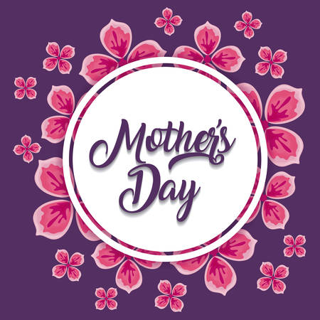Mothers day design with beautiful flowers around decorative circular frame over purple background, colorful design. vector illustration