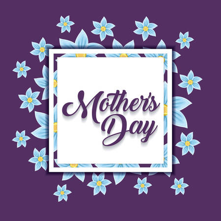 Mothers day design with beautiful flowers around decorative square frame over purple background, colorful design. vector illustration