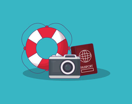 Summer time design with camera and passport over blue background, colorful design vector illustration