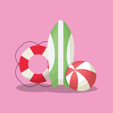 Summer time design with summer float and surfboard over pink background, colorful design vector illustration