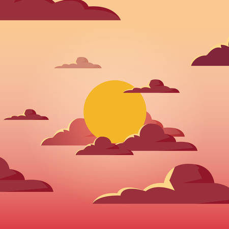 Sunshine landscape at the sky with sun and clouds, colorful design vector illustration Illustration