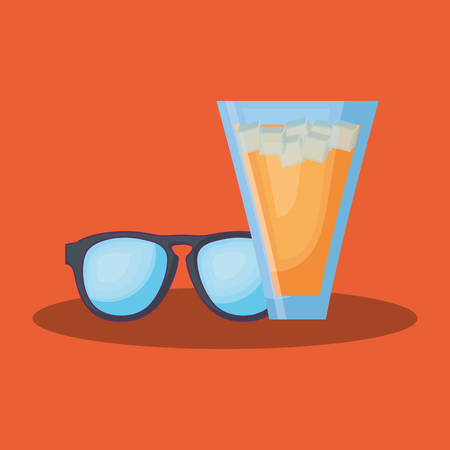 Summer time design with cocktail drink and sunglasses over orange background, colorful design vector illustration Illustration