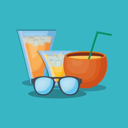Summer time design with cocktails drinks and sunglasses over blue background, colorful design vector illustration Illustration