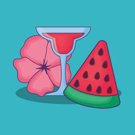 Summer time design with cocktail and watermelon over blue  background, colorful design vector illustration
