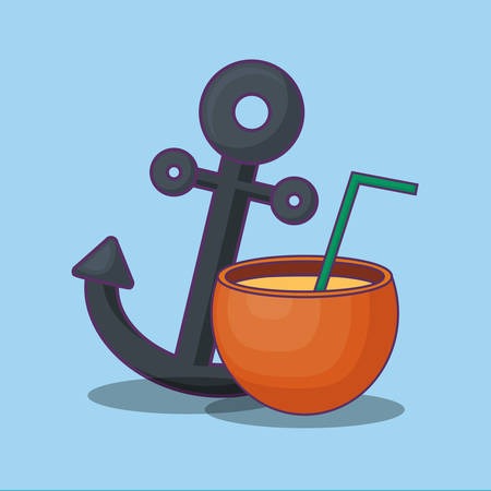Summer time design with anchor and coconut cocktail over blue background, colorful design vector illustration Illustration
