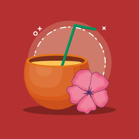 Summer time design with coconut cocktail and tropical flower over red background, colorful design vector illustration