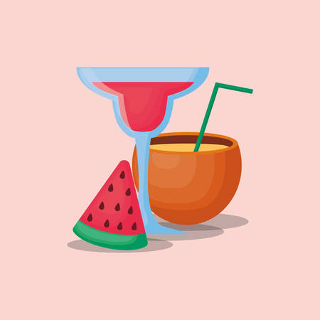 cocktails drink and watermelon related icons over pink background, colorful design vector illustration
