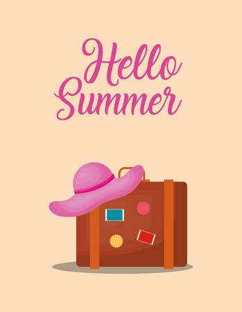 Hello summer design with travel suitcase over orange background, colorful design vector illustration.