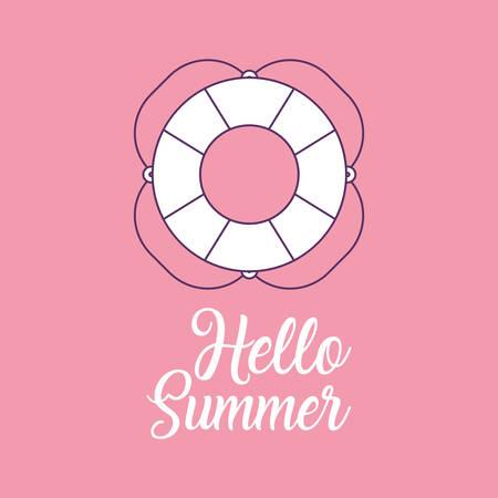 Hello summer design with summer float over pink background, colorful design vector illustration. Illustration