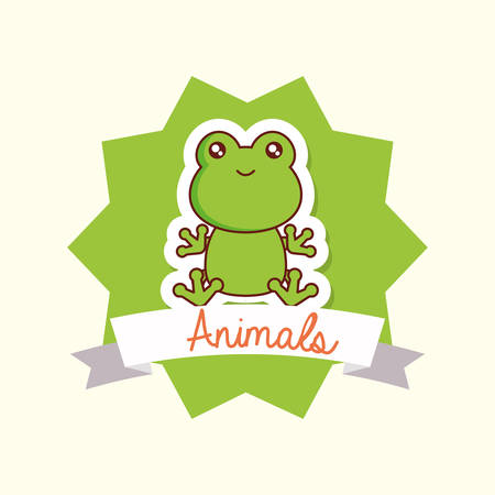 Cute animals design with decorative frame and ribbon with frog over white background, colorful design vector illustration