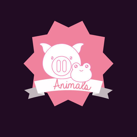 Cute animals design with decorative frame and ribbon with pig and frog over purple background, colorful design vector illustration 向量圖像