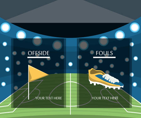 Offside flag and football boot over stadium background, colorful design vector illustration