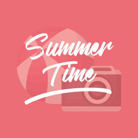 Summer time design with camera and ball over pink background, colorful design vector illustration