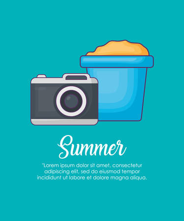 Infographic of summer concept with camera and bucket with sand over blue background, colorful design vector illustration