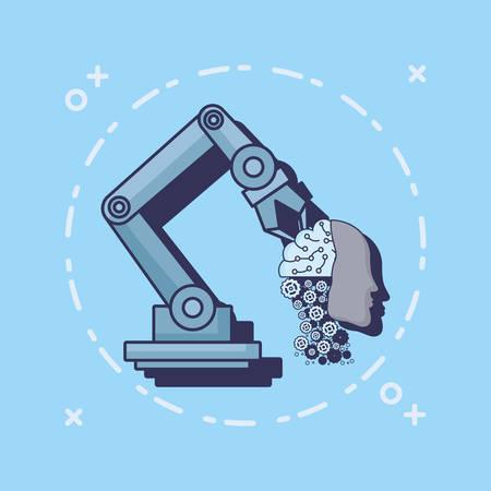 Diseño de inteligencia artificial con brazo robótico con cabeza robótica sobre fondo azul, ilustración vectorial de diseño colorido