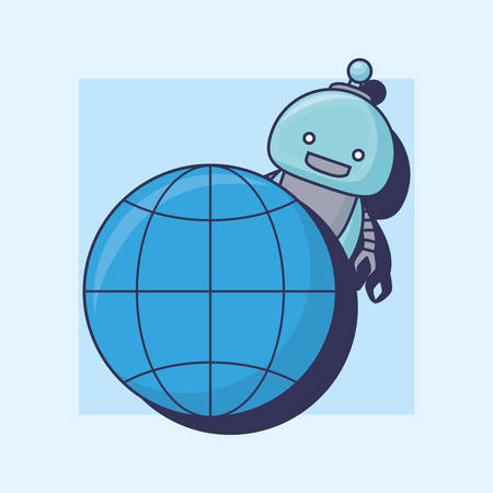 Artificial Intelligence design with cartoon robot and global sphere icon over blue background, colorful design vector illustration