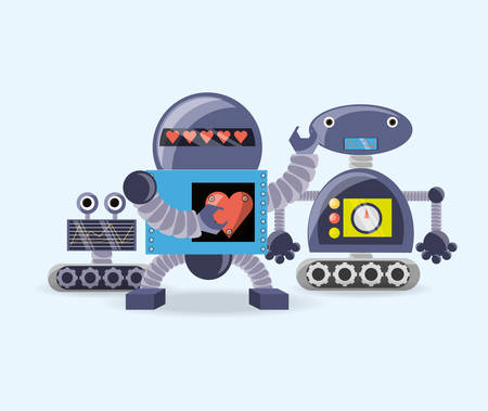Robotic design with cartoon robots over white background, colorful design vector illustration Ilustração