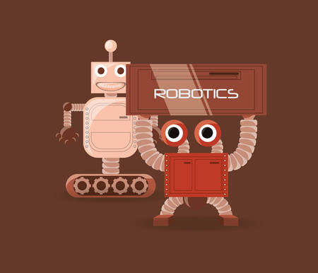 Robotic design with cartoon robots over brown background, colorful design vector illustration