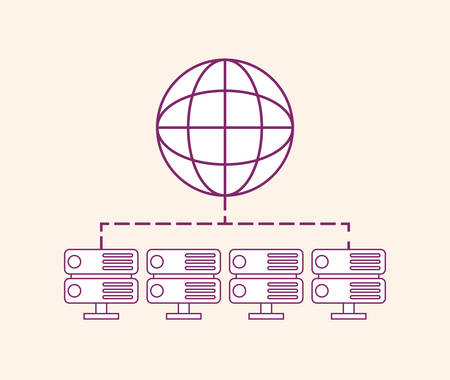 Global sphere with data servers over white background, vector illustration Illustration