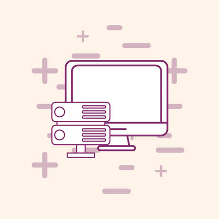 Big data design with computer and router over white background, vector illustration 矢量图像
