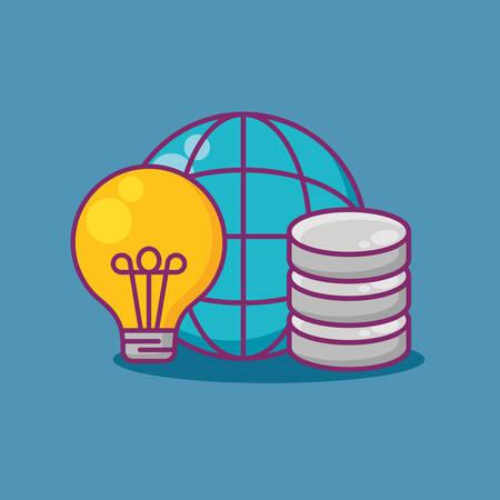 Data server with global sphere and bulb  over blue background, vector illustration Illustration